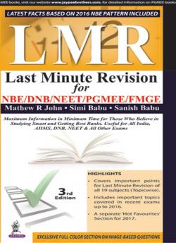 Front cover: Last Minute Revision For NBE/DNB/NEET/PGMEE/FMGE, 3rd edition