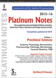 Front cover: Platinum Notes: Preclinical Sciences (2015–16), Volume 1